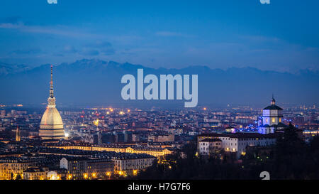 Turin (Torino) high definition panorama with Mole Antonelliana and Monte dei Cappuccini - Stock Photo