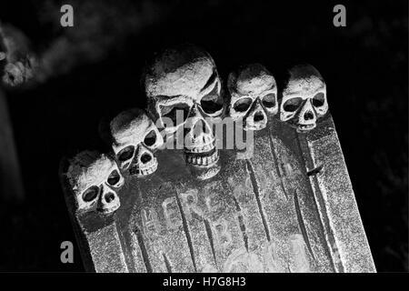 halloween decorations halloween yard display stock photo tombstone with skulls - Skull Halloween Decorations