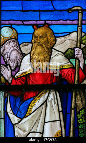 Stained Glass window depicting Moses, in the Cathedral of Saint Rumbold in Mechelen, Belgium - Stock Photo