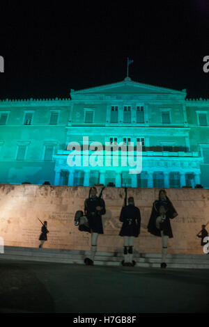 Athens, Greece. 05th Nov, 2016. The building of the Greek parliament, is lighten in Green, as part of the Worldwide - Stock Photo