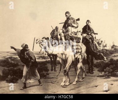 Arabs riding camels in the desert, Victorian Age print - Stock Photo