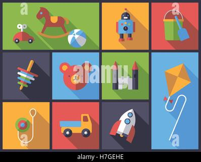 Horizontal flat design long shadow illustration with little children's toys - Stock Photo