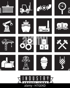 Collection of 16 square industry themed vector icons, negative in black squares - Stock Photo