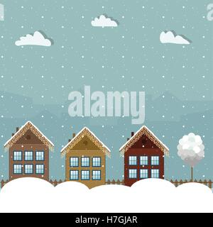 Colorful Wooden Houses, Winter Theme - Stock Photo
