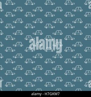 Blue Retro Cars Pattern - Stock Photo