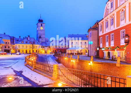 Small square (Piata mica) in Sibiu. Transylvania, Romania - Stock Photo