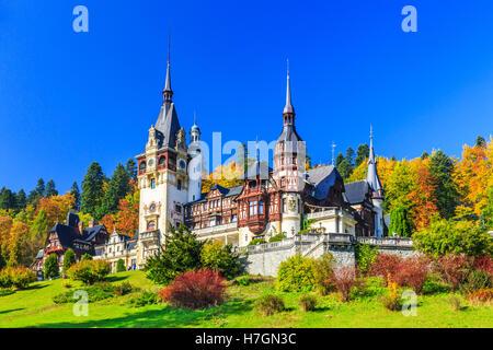 Peles in Muntenia region, Romania. Sinaia, Prahova county. - Stock Photo