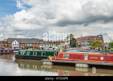 Narrowboat Marina on the River Avon in the town centre of Stratford upon Avon, Warwickshire, England. - Stock Photo