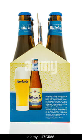 Winneconne, WI - 3 November 2016:  Six pack of Wittekerke beer on an isolated background. - Stock Photo