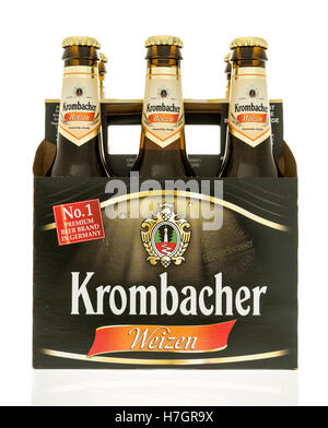 Winneconne, WI - 3 November 2016:  Six pack of Krombacher beer on an isolated background. - Stock Photo