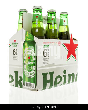 Winneconne, WI - 3 November 2016:  Six pack of Heineken light beer on an isolated background. - Stock Photo