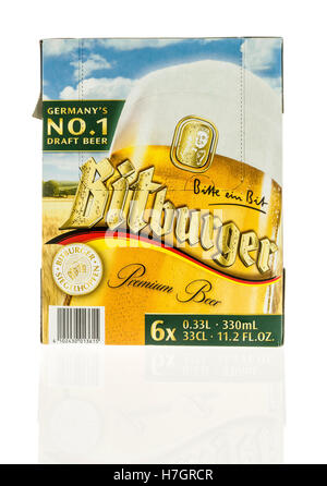 Winneconne, WI - 3 November 2016:  Six pack of Bitburger beer on an isolated background. - Stock Photo
