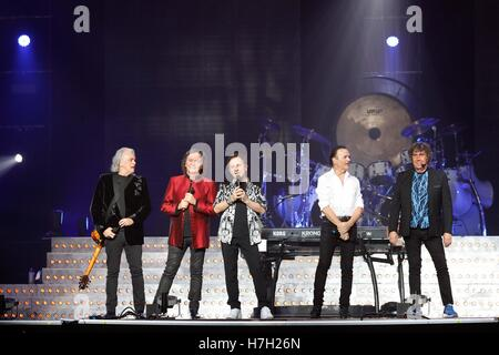 Italian band Pooh perform live on stage 'Reunion 50' at Palalottomatica in Rome - Stock Photo