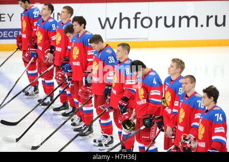 Helsinki, Finland. 5th Nov, 2016. Russia's national ice hockey team line u ahead of their 2016/17 Euro Hockey Tour - Stock Photo
