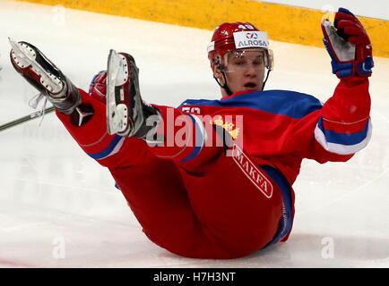 Helsinki, Finland. 5th Nov, 2016. Russia's Alexander Barabanov lying on the ice in their 2016/17 Euro Hockey Tour - Stock Photo