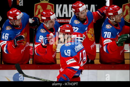 Helsinki, Finland. 5th Nov, 2016. Russia's Alexander Barabanov (front) celebrates scoring with his teammates in - Stock Photo