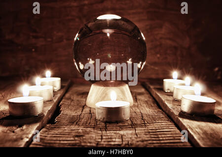future teller candle divination - Stock Photo