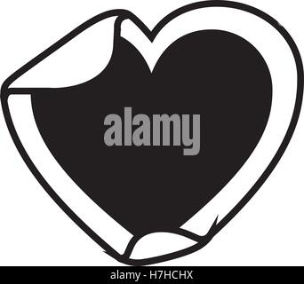 silhouette of blank sticker in heart shape icon over white background. vector illustration - Stock Photo