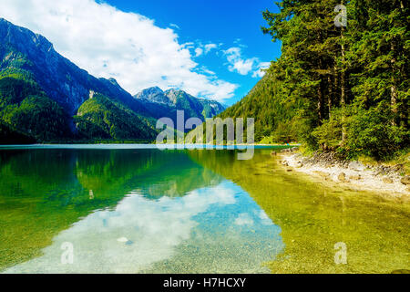 Beautiful landscape, lake with mountain in background. - Stock Photo