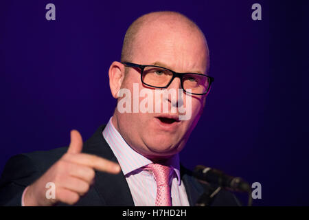 Paul Nuttall speaks during a UKIP (UK Independence Party) hustings debate at the Neon in Newport, South Wales, UK. - Stock Photo