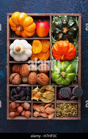 Set of autumn vegetables, fruits, nuts and seeds in a wooden box with cells top view - Stock Photo