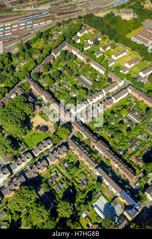 Aerial photo, Duisburg-Hamborn Jupp colony, former coal mine settlement, historic workplace settlement, miners homes, - Stock Photo
