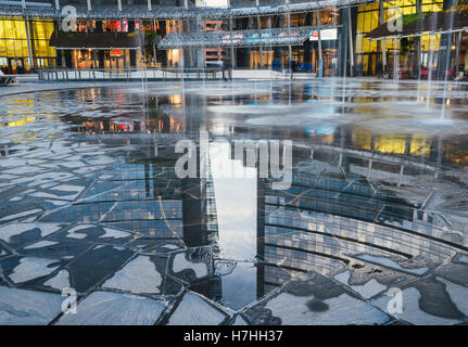 Reflection of modern building in Gae Aulenti square, the new finalcial district at Porta Garibaldi built for EXPO - Stock Photo