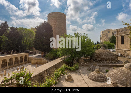 View of Maiden Tower and turkish baths in Baku old town, Azerbaijan - Stock Photo