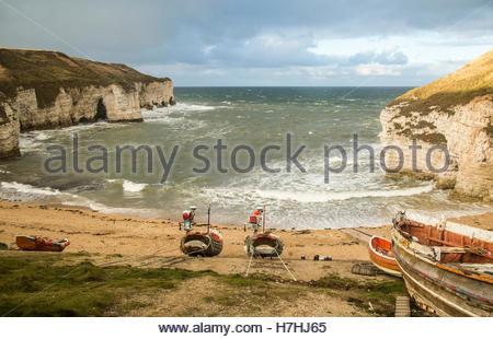 North Landing bay at Flamborough Head in late Autumn. - Stock Photo