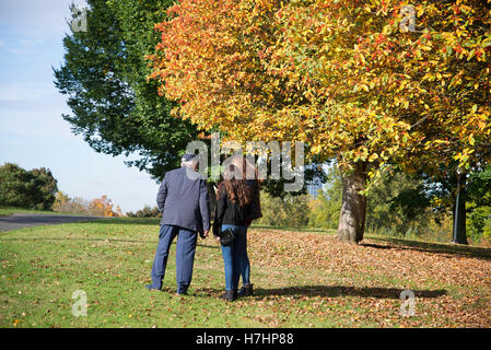 Beautiful autumnal colored leaves on trees in Primrose Hill, London. - Stock Photo