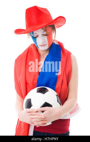 Female French soccer fan - Stock Photo