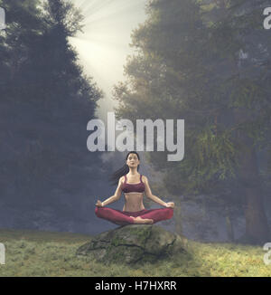 Woman meditating in lotus posture, doing yoga  on a rock  in the forest. This is a 3d render illustration. - Stock Photo