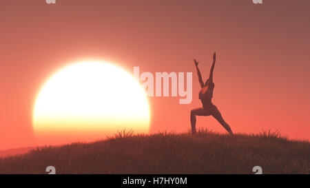 Silhouette of a woman doing yoga at sunset. This is a 3d render illustration - Stock Photo