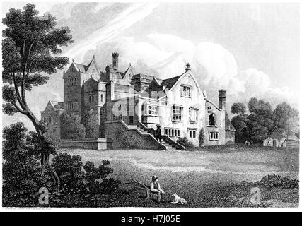 An engraving of New Hall, Yorkshire scanned at high resolution from a book printed in 1812. Believed copyright free. - Stock Photo