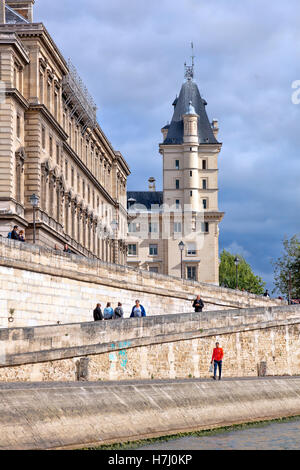 As viewed from the tour boat on the river Seine in  Paris,  France - Stock Photo