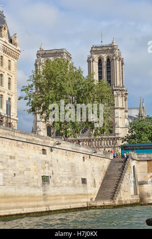 Cathedral Notre Dame , As viewed from the tour boat on the river Seine in  Paris,  France - Stock Photo