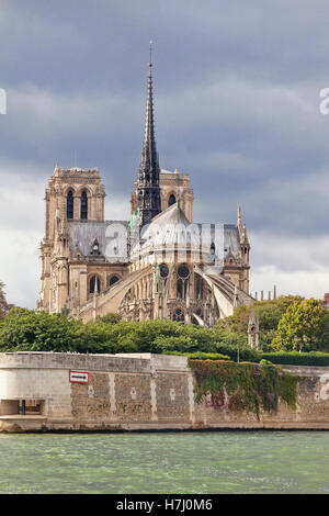 Cathedral of Notre Dame viewed over the river Seine Paris France - Stock Photo