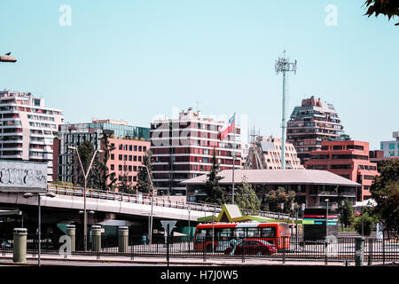 Photo of Buildings and Streets of Santiago City in Chile - Stock Photo