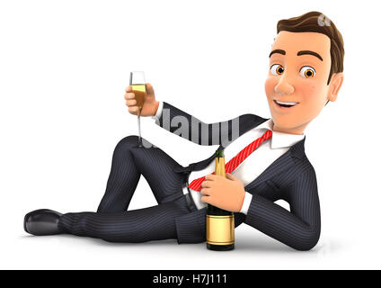 3d businessman lying on the floor with champagne, illustration with isolated white background - Stock Photo