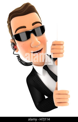 3d security agent peeping over blank wall, illustration with isolated white background - Stock Photo