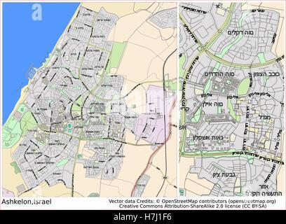 Ashkelon Israel city map Stock Vector Art Illustration Vector