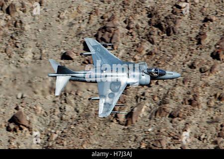 McDonnell Douglas AV-8B+ Harrier II DD-08 of the US Navy's VX-31 Dust Devils squadron flies low level through the - Stock Photo