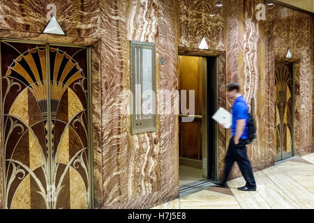 Manhattan New York City NYC NY Midtown 42nd Street Chrysler Building lobby elevator marble Art Deco design inlaid - Stock Photo