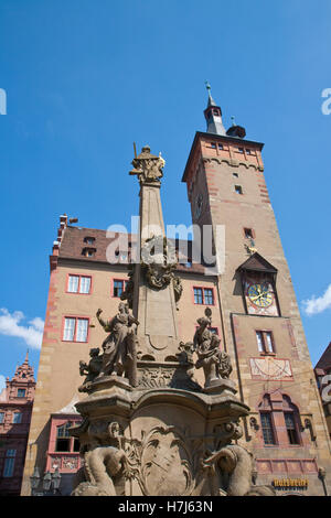 Vierroehrenbrunnen, fountain in front of City Hall, Old City Hall, Wuerzburg, Franconia, Bavaria - Stock Photo