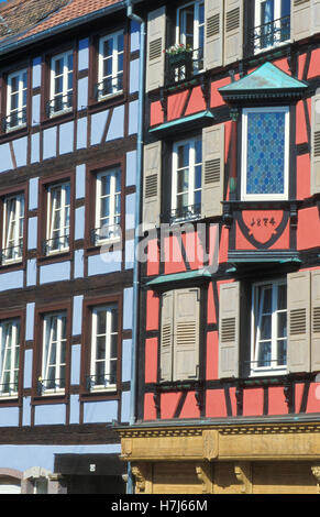 Half-timbered houses in Barr, Alsace, France, Europe - Stock Photo
