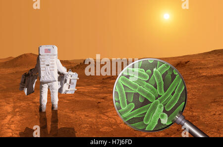 Searching for life on planet Mars - Elements of this image furnished by NASA - Stock Photo