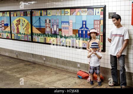 Lower Manhattan New York City NYC NY subway MTA public transportation rapid transit East Broadway station art artwork - Stock Photo