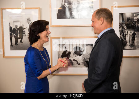 Former U.S. President Lyndon B. Johnsons daughter Luci Baines Johnson speaks with actor Woody Harrelson before a - Stock Photo
