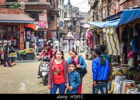 Portraiture of Nepali women with a boy in street market of Kathmandu, Nepal. © Reynold Sumayku - Stock Photo