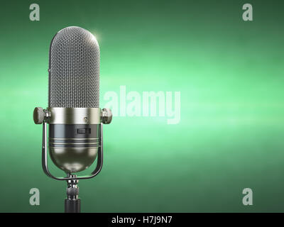 Retro old microphone. Radio show or audio podcast concept. Vintage microphone on green background. 3d illustration - Stock Photo